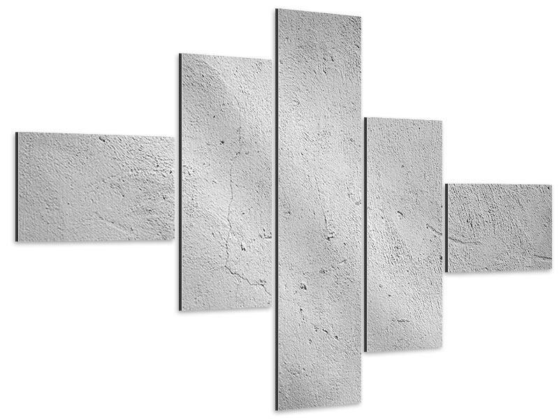Aluminiumbild 5-teilig modern Beton
