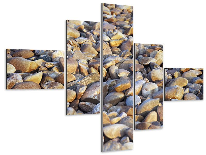 Aluminiumbild 5-teilig modern Strandsteine