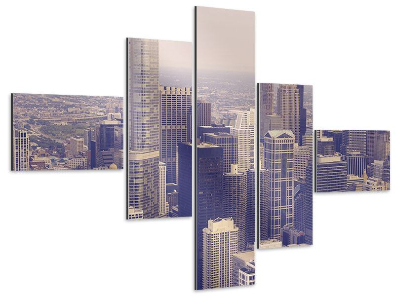 Aluminiumbild 5-teilig modern Skyline Chicago in Sepia