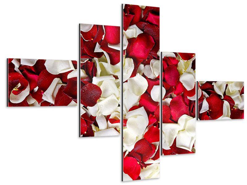 Aluminiumbild 5-teilig modern Rosenblätter