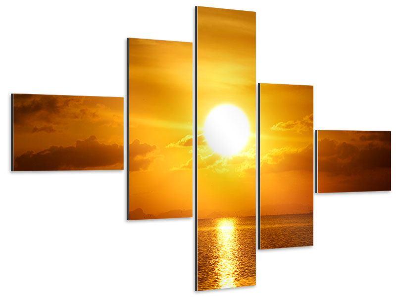 Aluminiumbild 5-teilig modern Sonnenuntergang See