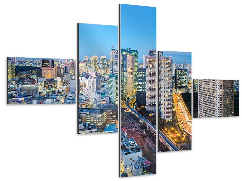 Aluminiumbild 5-teilig modern Skyline Tokio im Lichtermeer