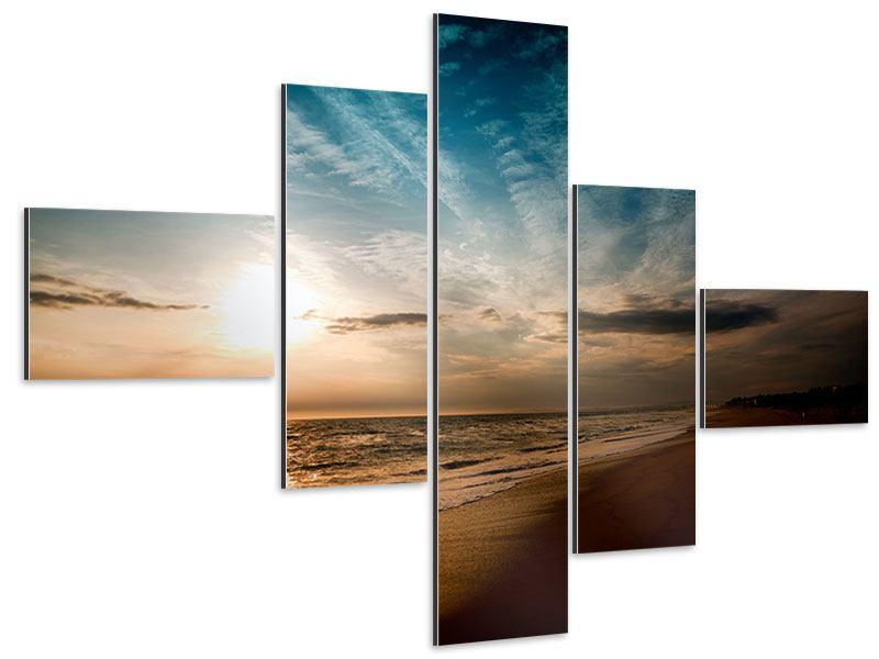 Aluminiumbild 5-teilig modern Strandspaziergang