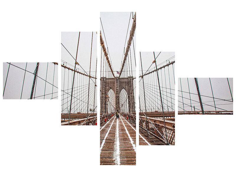 Aluminiumbild 5-teilig modern Auf der Brooklyn Bridge