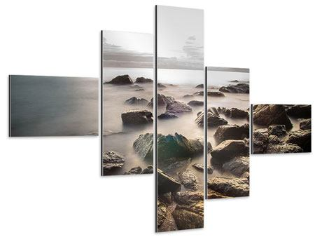 Aluminiumbild 5-teilig modern Steine am Strand