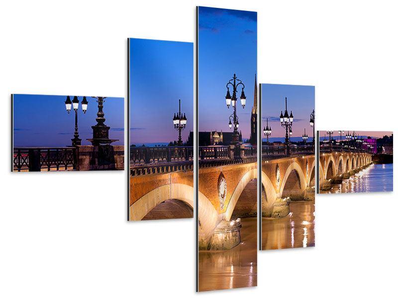 Aluminiumbild 5-teilig modern Pont De Pierre bei Sonnenuntergang