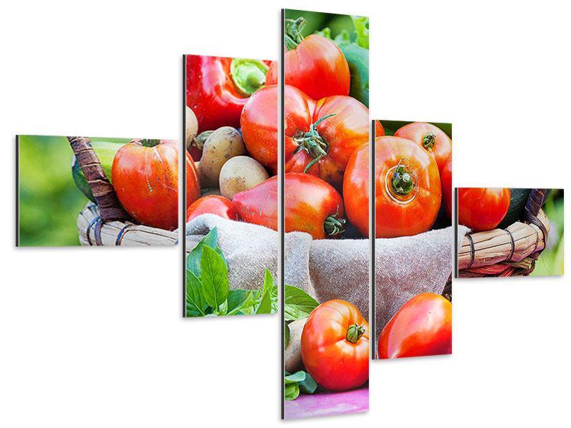 Aluminiumbild 5-teilig modern Gemüsekorb