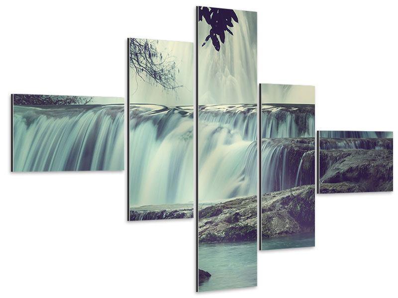 Aluminiumbild 5-teilig modern Wasserfall Mexiko