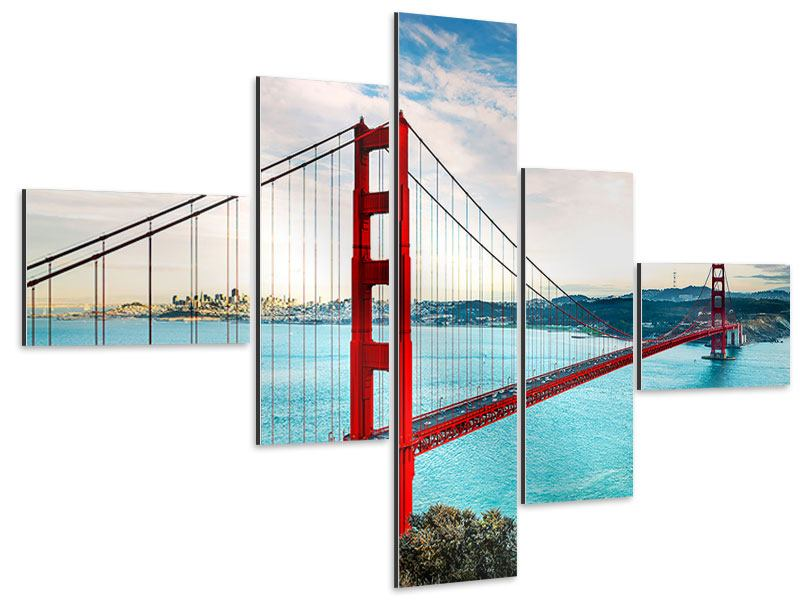 Aluminiumbild 5 Teilig Modern Golden Gate Bridge