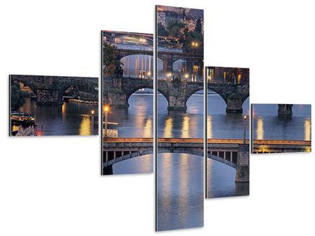 Aluminiumbild 5-teilig modern Brücken in Prag