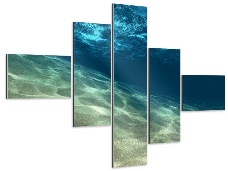 Aluminiumbild 5-teilig modern Unter dem Wasser