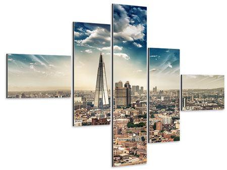 Aluminiumbild 5-teilig modern Skyline Über den Dächern von London