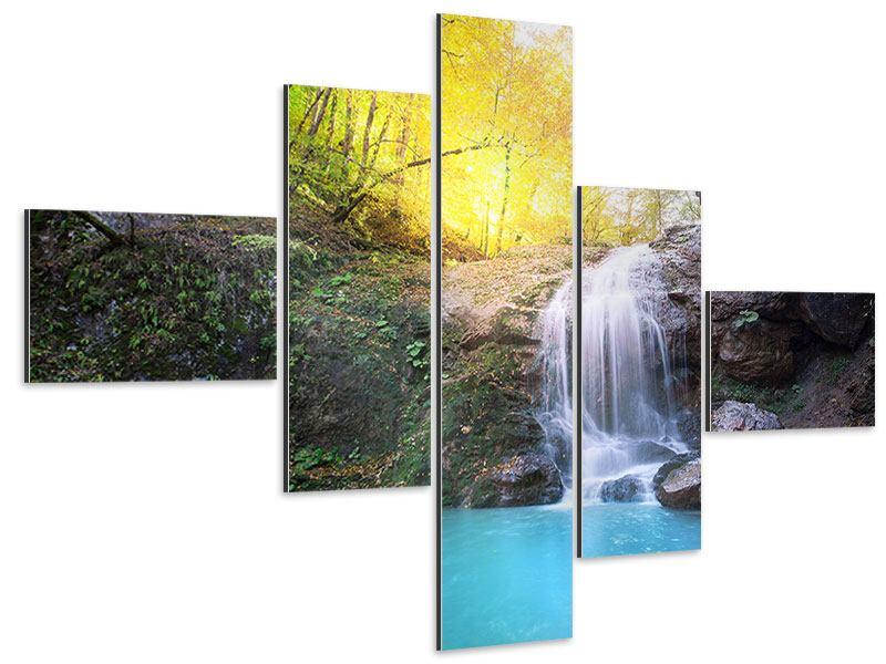 Aluminiumbild 5-teilig modern Fliessender Wasserfall