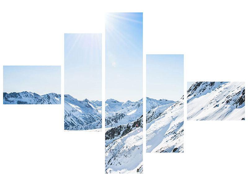 Aluminiumbild 5-teilig modern Bergpanorama im Schnee