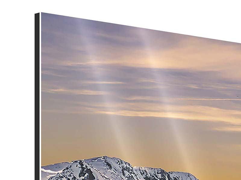 Aluminiumbild 5-teilig modern Sonnenuntergang in den Bergen