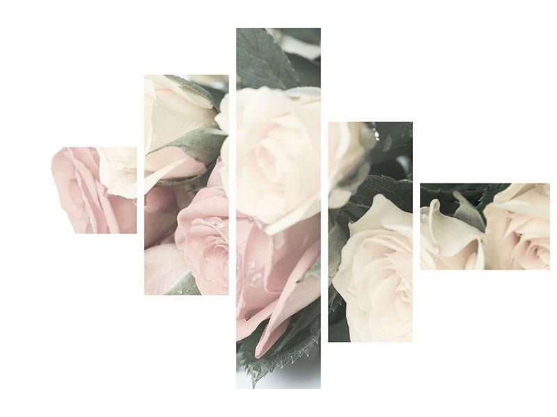 Aluminiumbild 5-teilig modern Rosenromantik