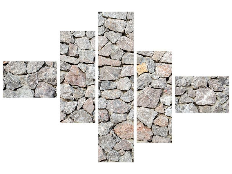 Aluminiumbild 5-teilig modern Grunge-Stil Mauer