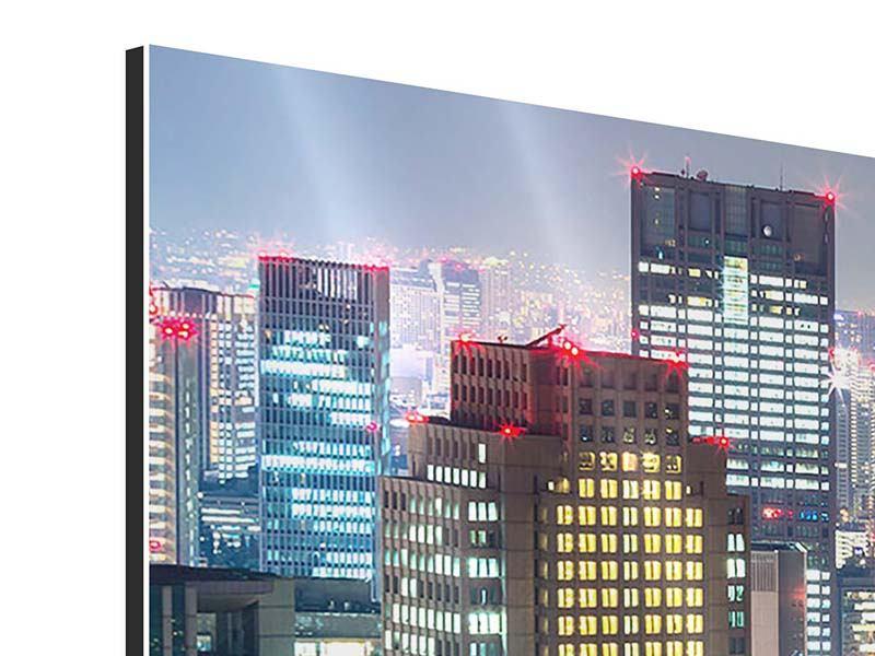 Aluminiumbild 5-teilig modern Skyline Osaka im Lichtermeer