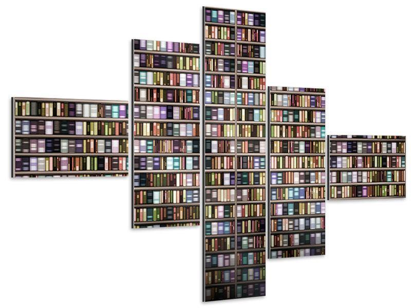 Aluminiumbild 5-teilig modern Bücherregal