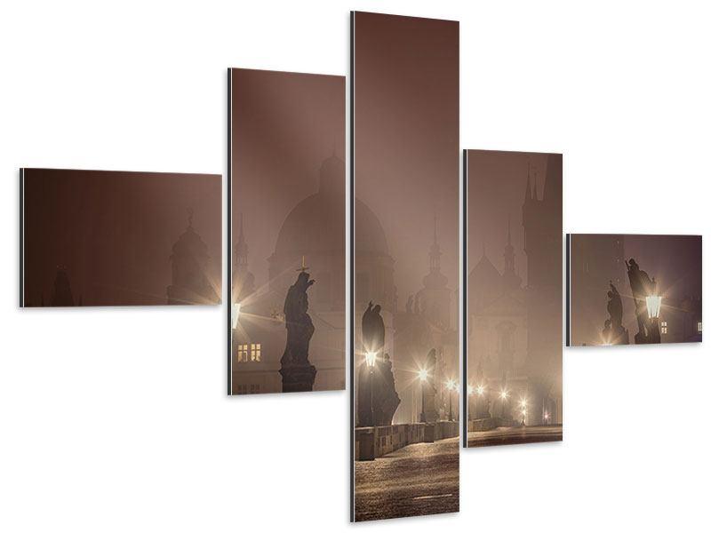Aluminiumbild 5-teilig modern Die Karlsbrücke bei Nacht