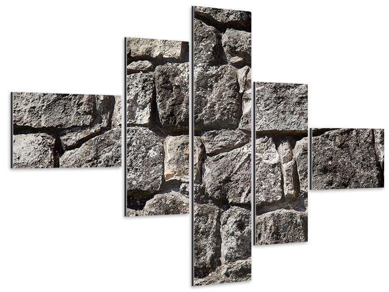 Aluminiumbild 5-teilig modern Grosses Mauerwerk