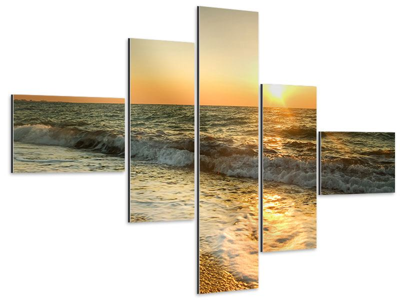 Aluminiumbild 5-teilig modern Sonnenuntergang am Meer