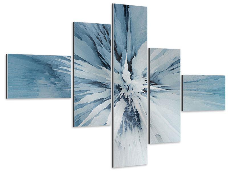 Aluminiumbild 5-teilig modern Eiskunst
