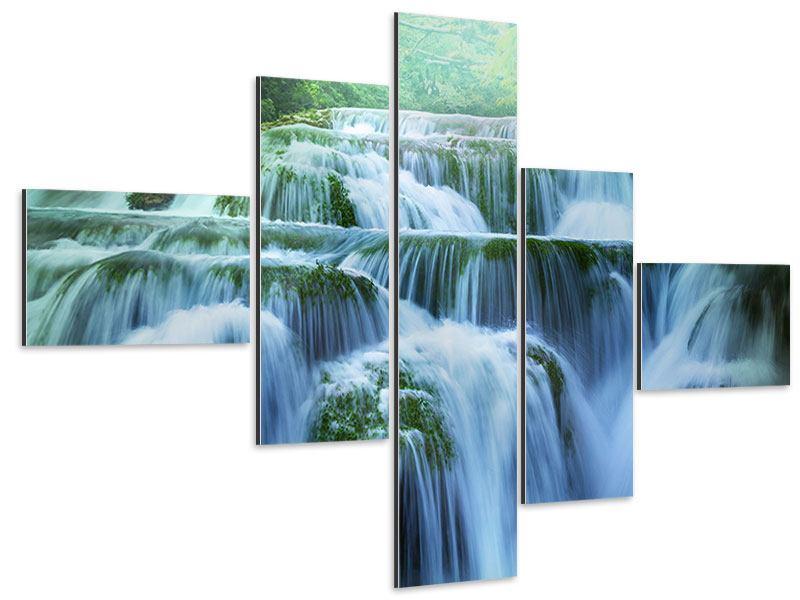 Aluminiumbild 5-teilig modern Gigantischer Wasserfall