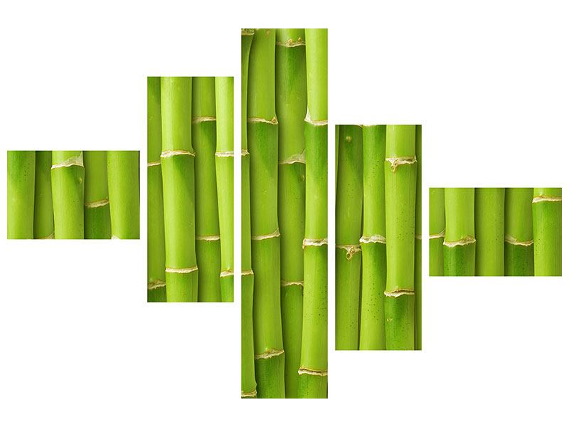 Aluminiumbild 5-teilig modern Bambuswand