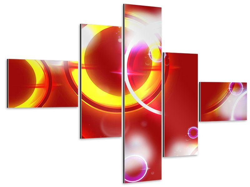 Aluminiumbild 5-teilig modern Abstraktes Retro