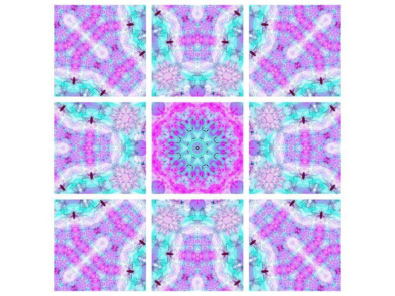 Aluminiumbild 9-teilig Lilac