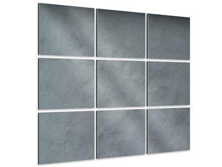 Aluminiumbild 9-teilig Dunkelgraue Wand