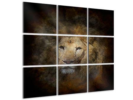 Aluminiumbild 9-teilig Löwenportrait