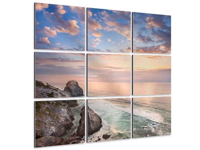 Aluminiumbild 9-teilig Romantischer Sonnenuntergang am Meer