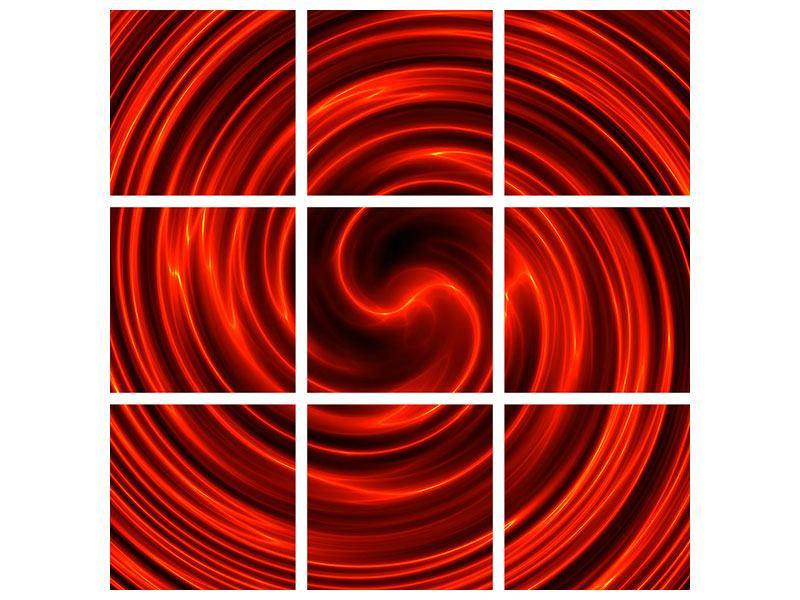 Aluminiumbild 9-teilig Abstrakte Rote Wirbel