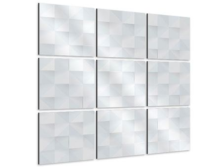 Aluminiumbild 9-teilig 3D-Schachbrett