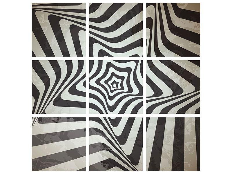 Aluminiumbild 9-teilig Abstrakte Bewegungen