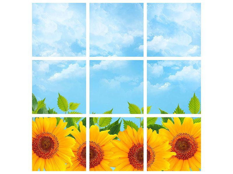 Aluminiumbild 9-teilig Sonnen Flower Power