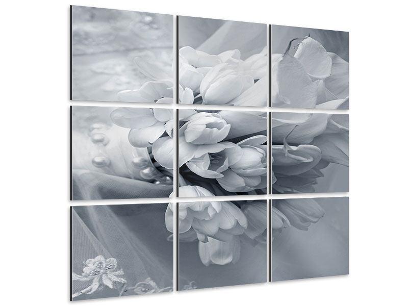 Aluminiumbild 9-teilig Romantisches Tulpenbukett