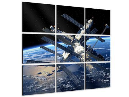 Aluminiumbild 9-teilig Raumstation