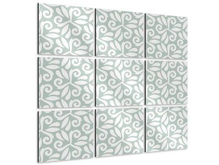 Aluminiumbild 9-teilig Renaissancemuster