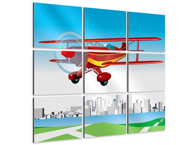 Aluminiumbild 9-teilig Fliegendes Flugzeug