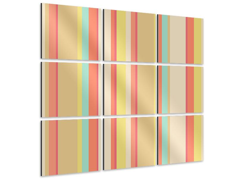 Aluminiumbild 9-teilig Pastell Streifen