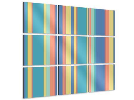 Aluminiumbild 9-teilig Längstreifen in Pastell