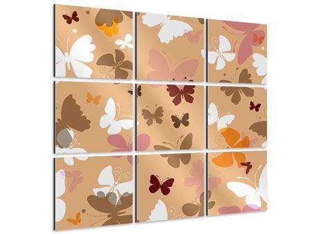 Aluminiumbild 9-teilig Retrodesign Schmetterlinge