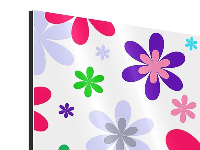 Aluminiumbild 9-teilig Retromode Blumen