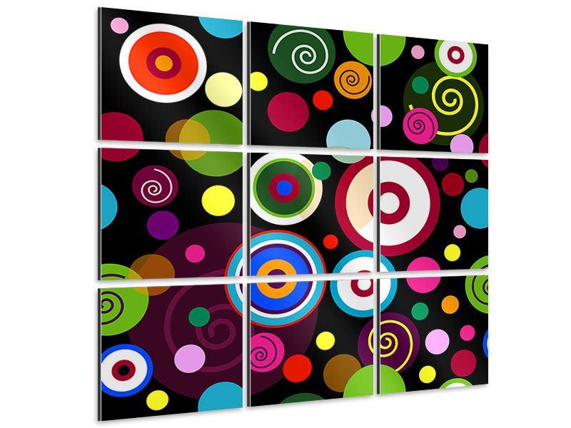 Aluminiumbild 9-teilig Bunte Retrolook Kreise