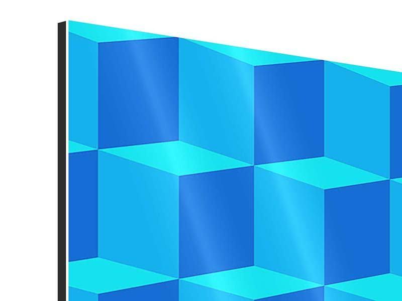 Aluminiumbild 9-teilig 3D-Würfel Türkis