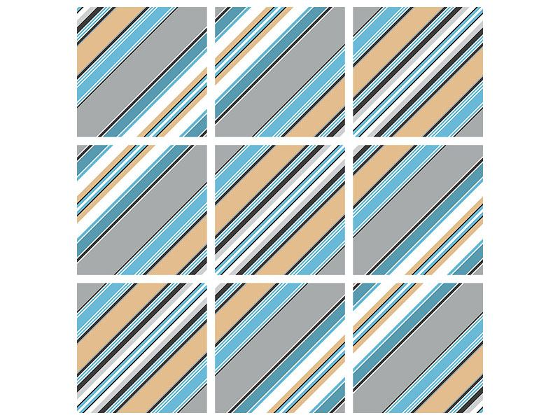 Aluminiumbild 9-teilig Farbstreifen