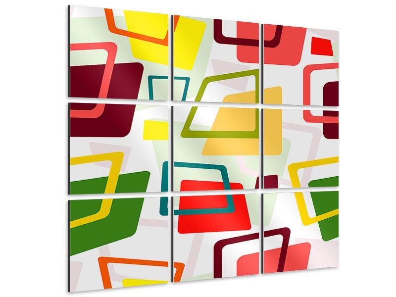 Aluminiumbild 9-teilig Rechtecke im Retrodesign